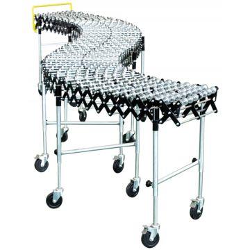 Convoyeur extensible et mobile à galets plastique, acier ou rouleaux