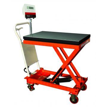 Table élévatrice avec système de pesage