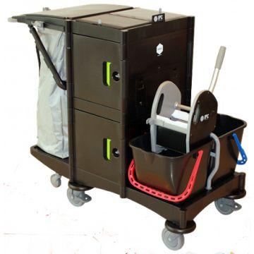 Chariot de ménage/lavage sécurisé + accessoires