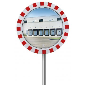 Miroir industrie et logistique cadre rouge et blanc
