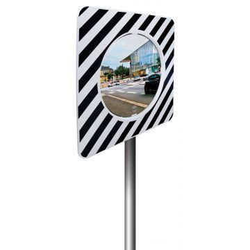 Miroir réglementaire d'agglomération cadre noir et blanc
