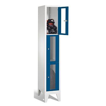 Vestiaire monobloc multicases sur socle et portes vitrées