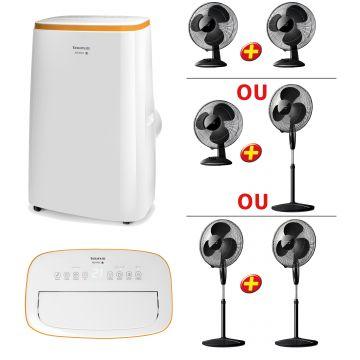 Climatiseur mobile réversible + 2 ventilateurs offerts
